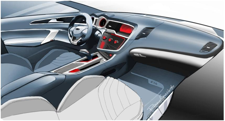 All new Optima interior sketch 1 Kia Optima design story: Interior.