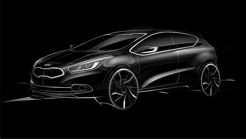 kipr90 4f5f64357c969 First official sketch of the 2013 Kia pro ceed.