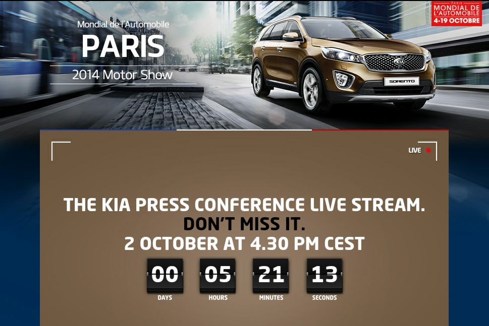 Follow Kia Press Conference at 2014 Paris Motor Show (October 2 – 16:30 CET) at TheKCB