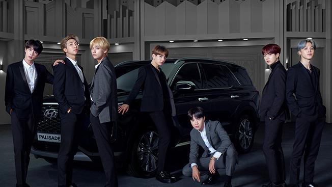 2020 hyundai palisade teased with BTS boyband