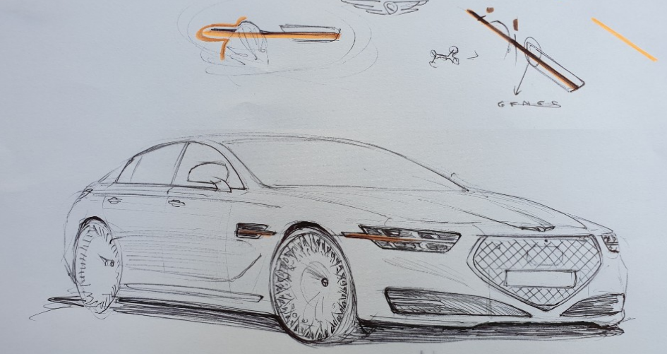 Genesis G90 Sketched After Private Showroom in South Korea