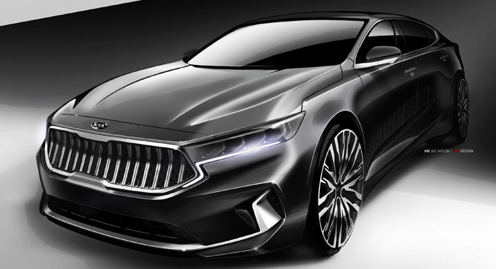 Kia Previews K7 Facelift on Sketches