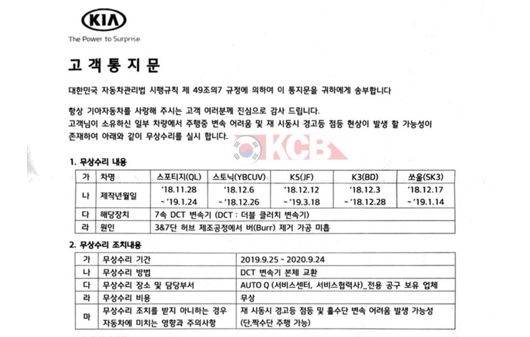 Kia Recall 7-speed DCT in South Korea