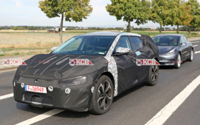 Kia CV EV Crossover Spied Testing With Tesla Model 3