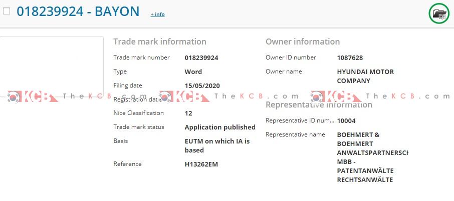 "Hyundai Motor Register ""Bayon"" Trademark"
